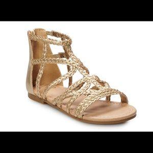 SO girl's gold gladiator sandals 5
